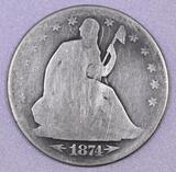 1874 P Arrows Seated Liberty Silver Half Dollar.