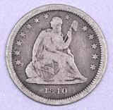 1840 O Seated Liberty Silver Quarter.