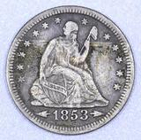 1853 P Arrows & Rays Seated Liberty Silver Quarter.
