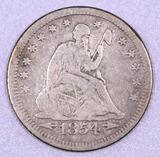 1854 P Arrows Seated Liberty Silver Quarter.