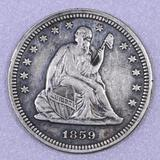 1859 P Seated Liberty Silver Quarter.