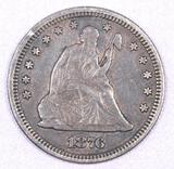 1876 P Seated Liberty Silver Quarter.