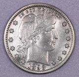 1898 S Barber Silver Quarter.