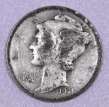 1921 P Mercury Silver Dime.
