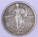 1917 P Ty.1 Standing Liberty Silver Quarter.