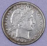 1914 D Barber Silver Quarter.
