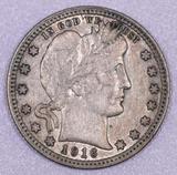 1916 P Barber Silver Quarter.