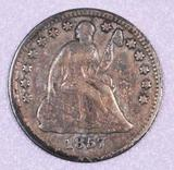 1857 P Seated Liberty Silver Half Dime.