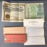 Group of Antique Stock Certificates + Correspondence