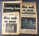 Group of Vintage Historic Newspapers : 1969 Lunar Landing