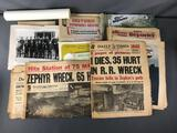Group of Vintage Downers Grove, Illinois Newspapers + Photographs