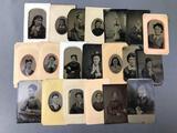 Collection of Antique Tin Type Studio Portraits