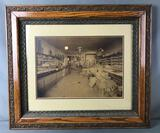 Framed Antique Photograph : Interior of a Midwest Grocery/ Dry Goods Store