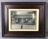 Framed Antique Photograph of Thatcher & Crescy Store + Staff