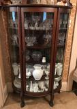 Antique Curved Front Curio Cabinet