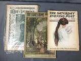 Lot of 3 Antique Magazines - Ladies' Home Journal and Saturday Evening Post