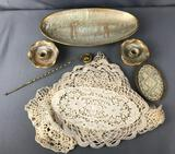Group of Vintage Doilies, Glass Perfume Tray, and more
