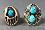 Lot of 2 : Southwest Sawtooth Bezel Set Turquoise Rings
