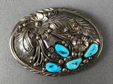 Sterling Silver and Turquoise Belt Buckle - Handmade by Navajo artist Jameson Lee
