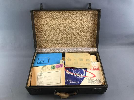 Vintage Briefcase Full of Assorted Stamp Collecting Items and more