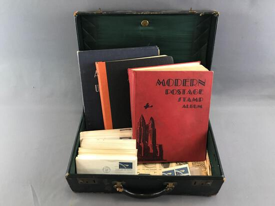 Vintage Briefcase containing 100+ pieces Stamp Albums and Postmarked Envelopes
