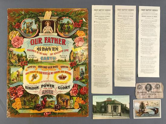 Group of 7 pieces Antique (1863-1911) Ephemera-Church Programs, Confederate Currency, and more