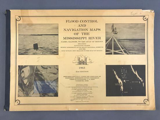 Vintage (1963) 31st Edition Flood Control and Navigation Maps of the Mississippi River