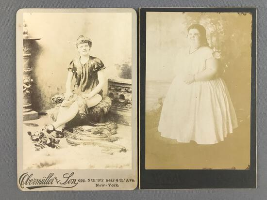 Group of 2 antique photographs-circus/side show personalities