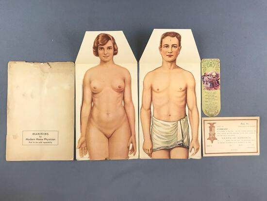 5 piece group Vintage Paper Fold Out Anatomy Mannequins and more