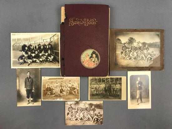 Group of 8 Antique/vintage Photographs and Scrapbook-Sports
