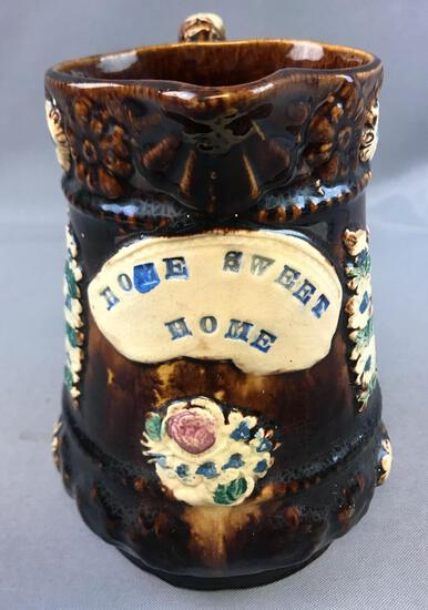 """Antique (1900s) Barge Ware Pottery Pitcher - """"Home Sweet Home"""""""