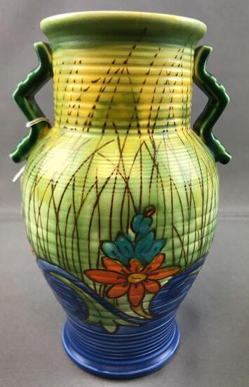 Vintage Art Pottery Vase w/ Applied Handles