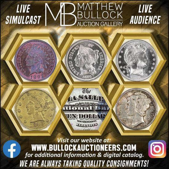 LIVE GALLERY AUCTION - Quality Coins & Currency