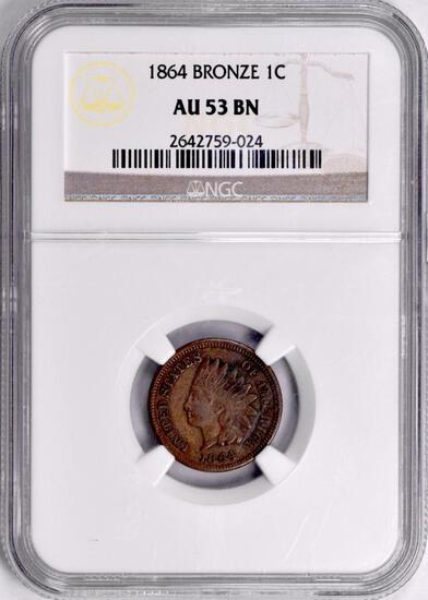 1864 BN Indian Head Cent (NGC) AU53BN.