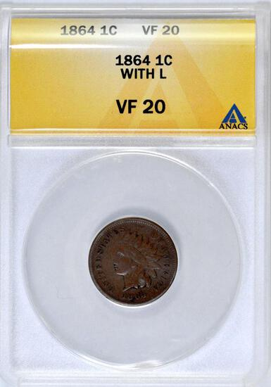 1864 L Indian Head Cent (ANACS) VF20.