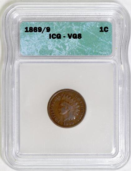 1869/9 Indian Head Cent (ICG) VG8.