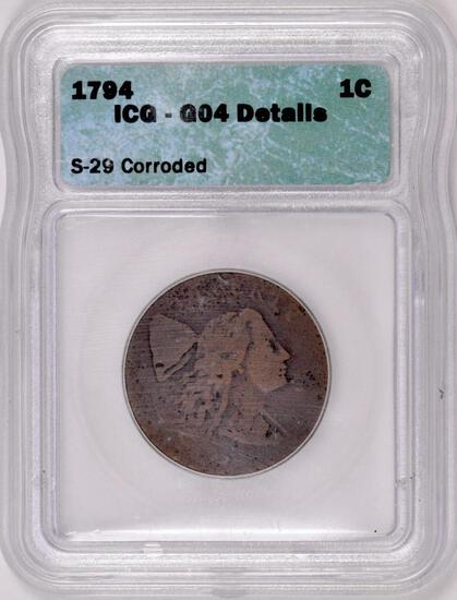 1794 Head of 1794 Liberty Cap Large Cent. G04 details.