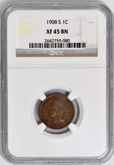 1908 S Indian Head Cent (NGC) XF45BN.