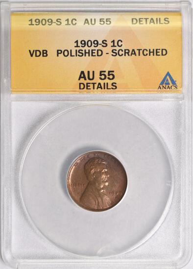 1909 S V.D.B. Lincoln Wheat Cent (ANACS) AU55 details.