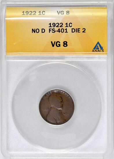 1922 No D Lincoln Wheat Cent (ANACS) VG8.