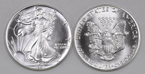 Group of (2) 1991 American Silver Eagle 1oz.