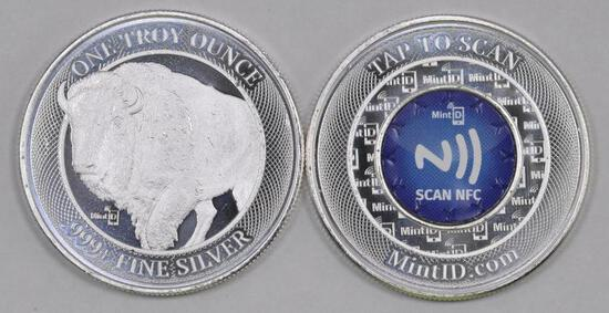 Group of (2) Mint ID 1 oz. .999 NFC Chip Verified Silver Round.
