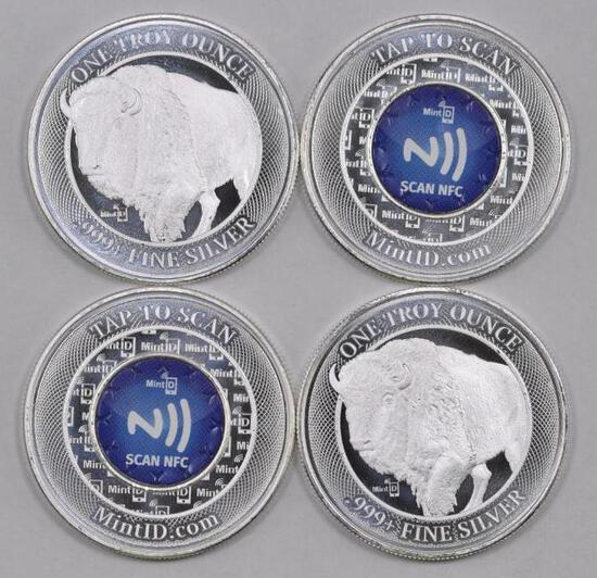 Group of (4) Mint ID 1 oz. .999 NFC Chip Verified Silver Round.