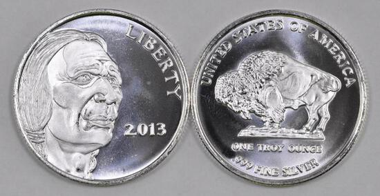 Group of (2) 2013 Indian / Buffalo 1oz. .999 Fine Silver Round.