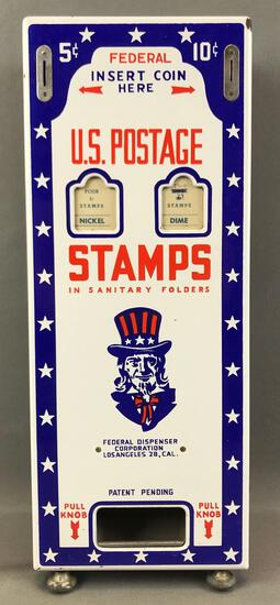 "Vintage (1950s) Wall Mounted ""Uncle Sam"" U.S. Postage Stamp Vending Machine"