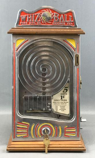 "Vintage(1930s) Pace Manufacturing Co. ""Whiz Ball"" Coin Operated Skill Game w/ Key"