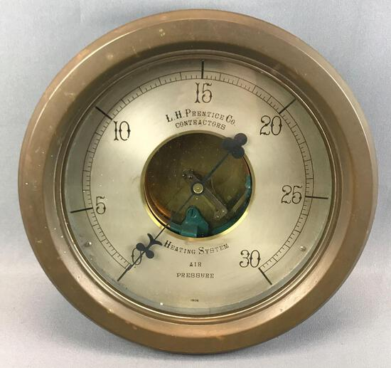 Antique (1908) L H Prentice Co Copper Heating System Air Pressure Gauge
