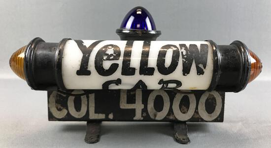 "Vintage Glass and Metal ""Yellow"" Cab Rooftop Taxi Light"