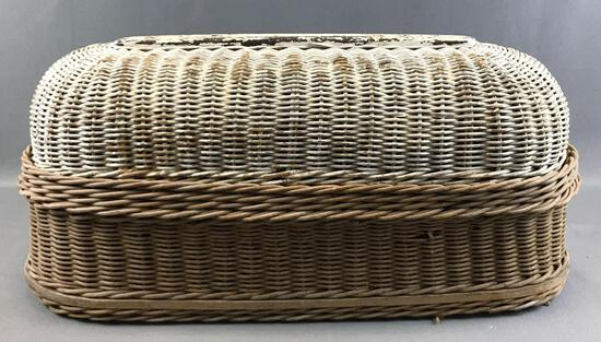 Antique Woven Wicker Mourning Casket w/Domed Lid