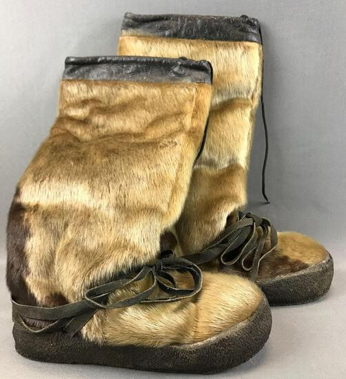 Vintage Seal Skin and Leather Boots